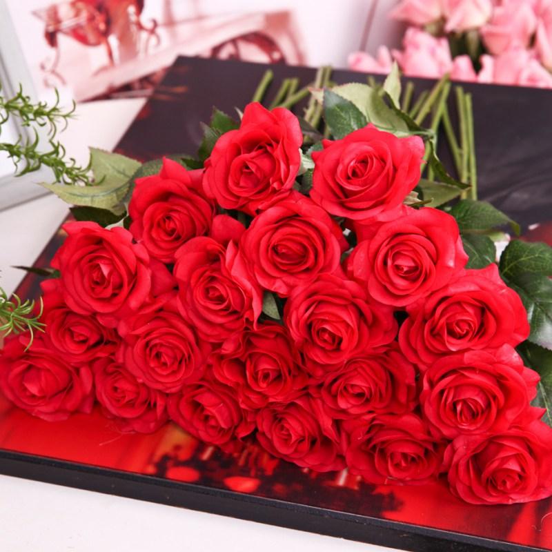 Artificial Fake Silk Flowers Floral Rose Bridal Bouquet Wedding ...